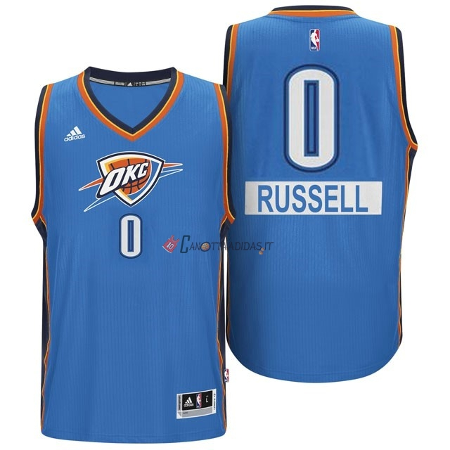 Hot- Maglia NBA Oklahoma City Thunder 2014 Natale NO.0 Russell Blu