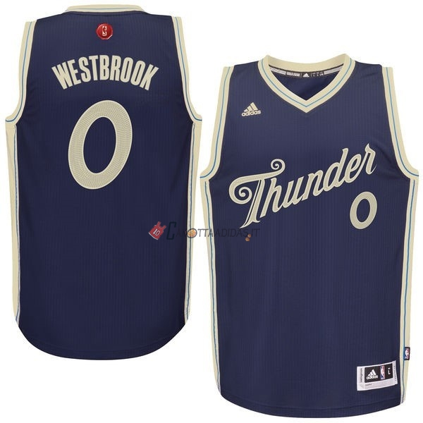 Hot- Maglia NBA Oklahoma City Thunder 2015 Natale NO.0 Westbrook Blu