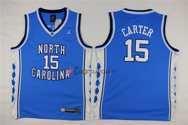 Hot- Maglia NCAA Bambino North Carolina NO.15 Vince Carter Blu