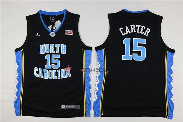 Hot- Maglia NCAA Bambino North Carolina NO.15 Vince Carter Nero
