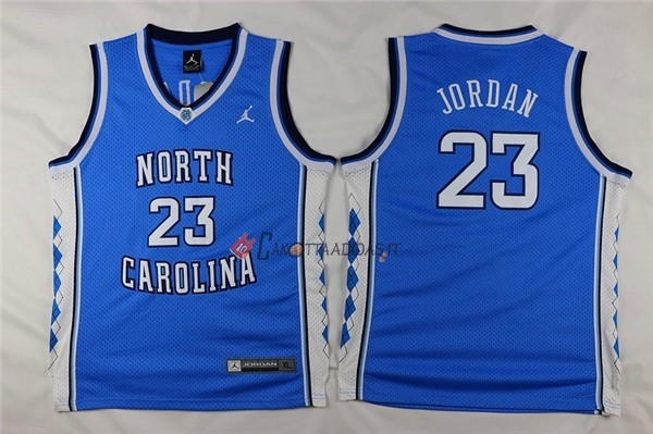 Hot- Maglia NCAA Bambino North Carolina NO.23 Michael Jordan Blu