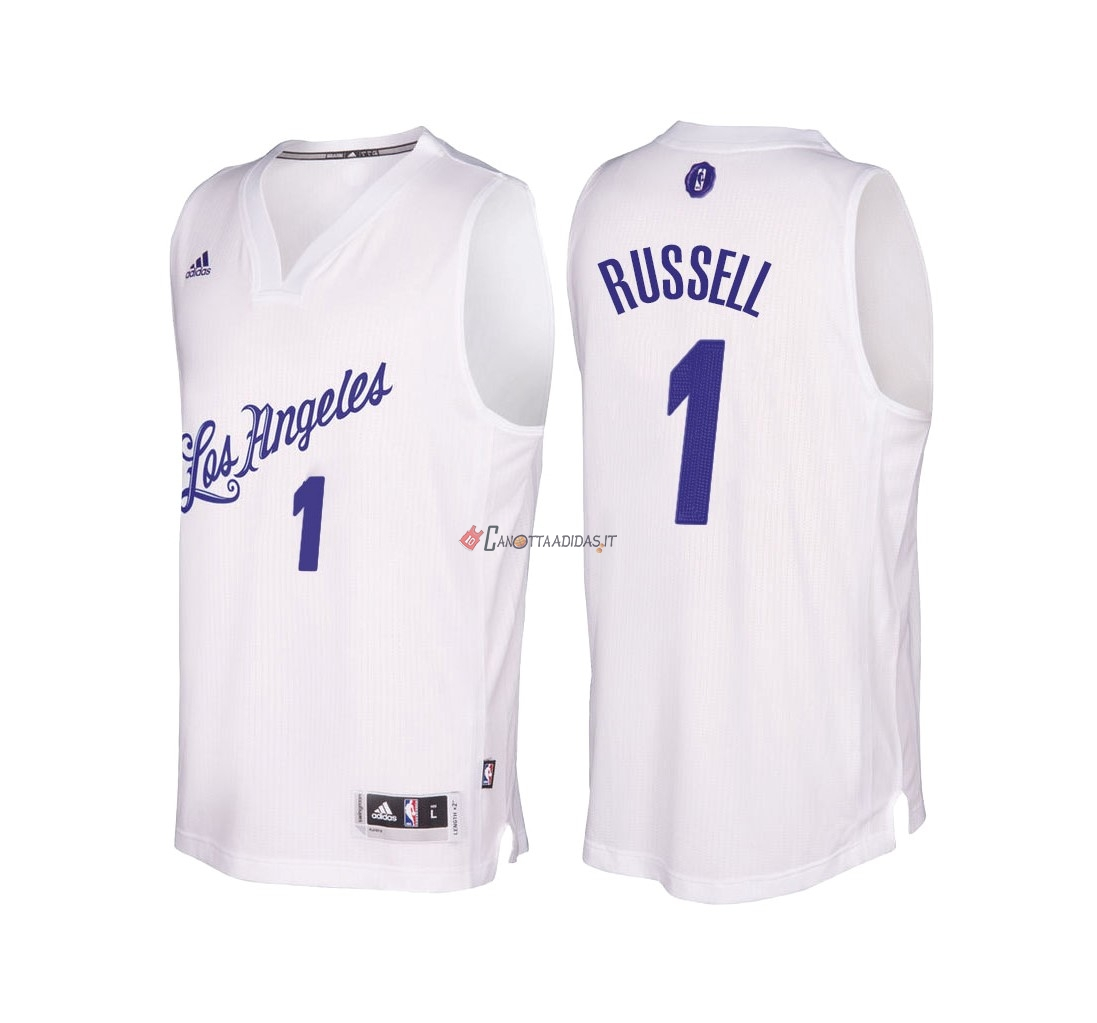 Hot- Maglia NBA Los Angeles Lakers 2016 Natale NO.1 D'Angelo Russell Bianco